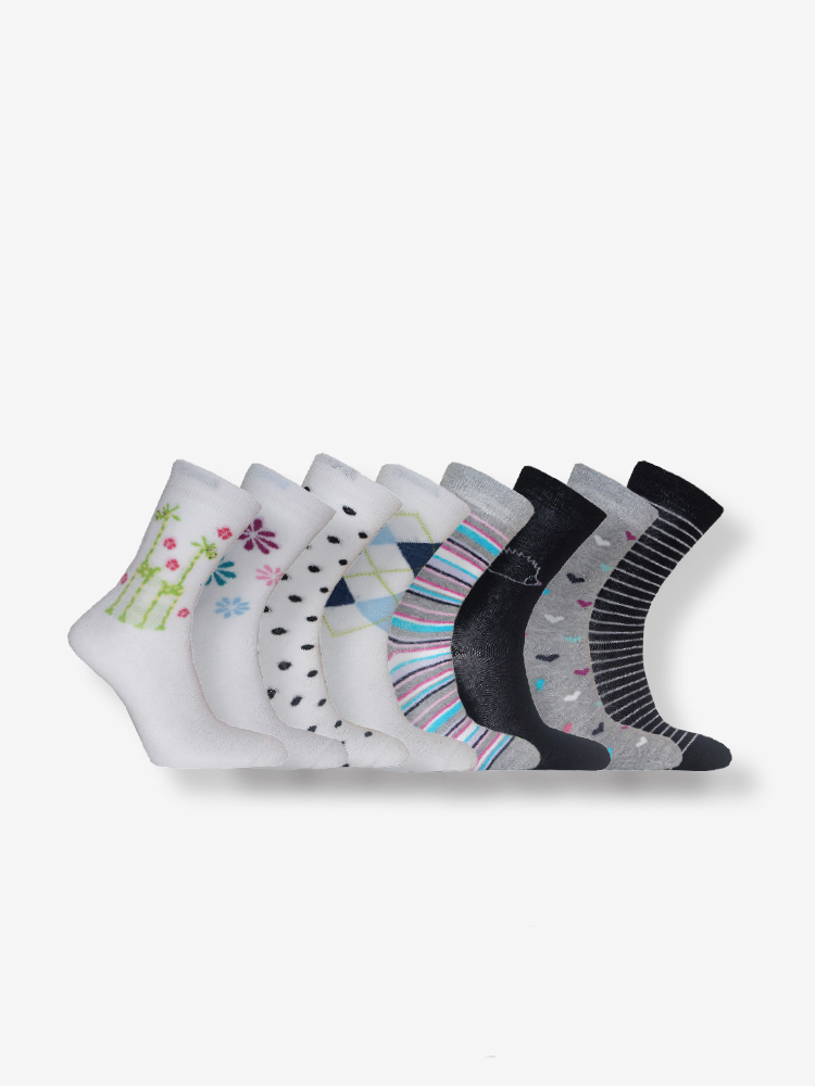 8-PACK WOMEN´S CASUAL SOCKS, WHITE MIX
