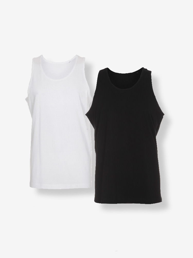 2-PACK MENS TANK TOP REGULAR FIT, BLACK & WHITE