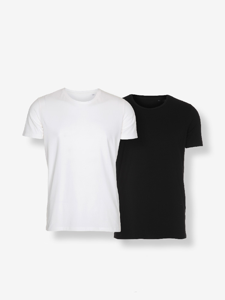 2-PACK CLASSIC TEE, REGULAR FIT, BLACK & WHITE