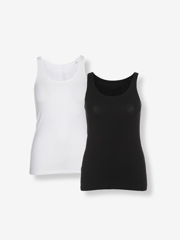 2-PACK LADY SHAPE SINGLET, BLACK & WHITE