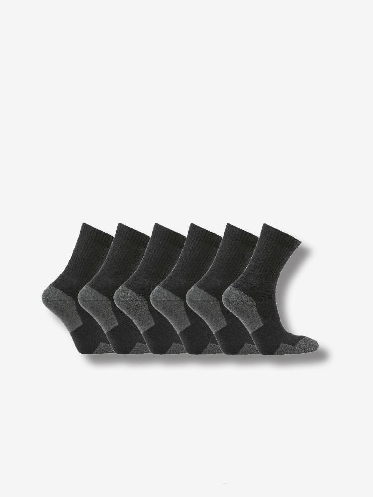 6-PACK ATHLETIC SPORT SOCKS, BLACK/GREY