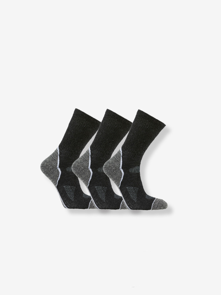 3-PACK CROSS COUNTRY WOOL SOCKS, BLACK/GREY