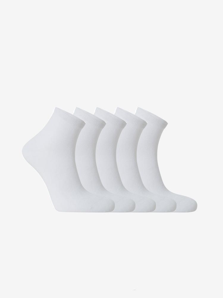 5-PACK BAMBOO ANKLET SOCKS WHITE