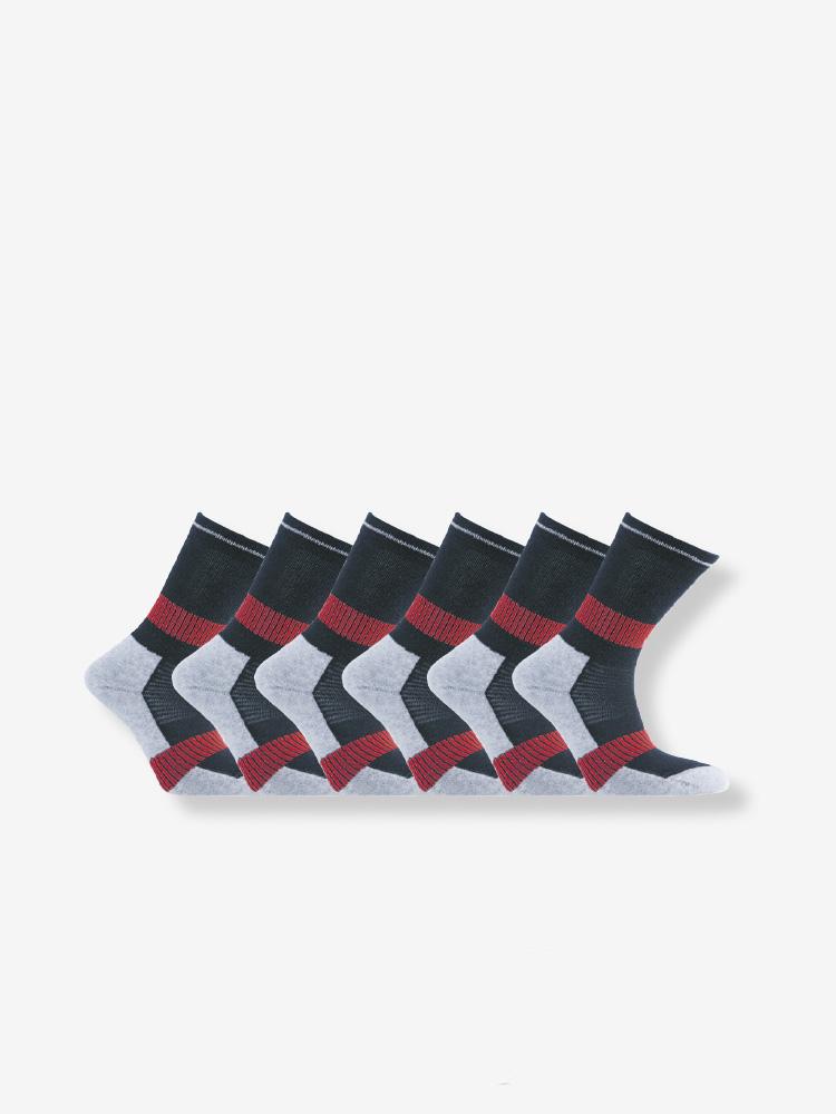 6-PACK QUARTER SPORT SOCKS, BLACK/RED