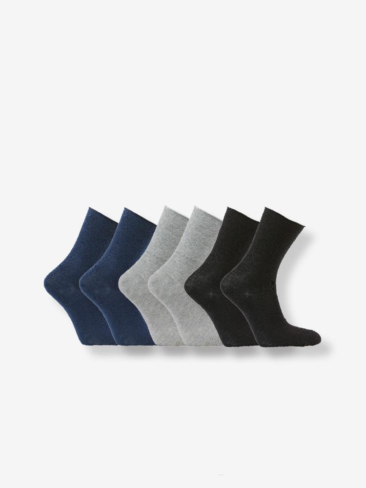 6-PACK COTTON SOFT HOLD SOCKS BLUE, GREY & BLACK