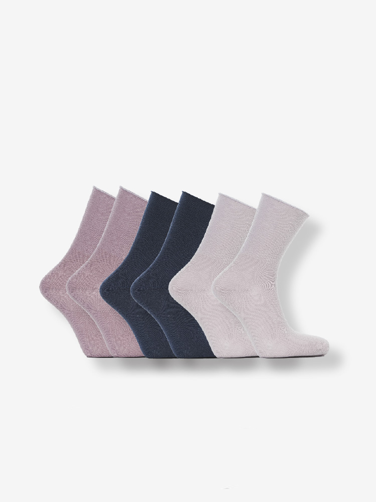 6-PACK COTTON SOFT HOLD SOCKS, PINK, BLUE, DUSTY PINK