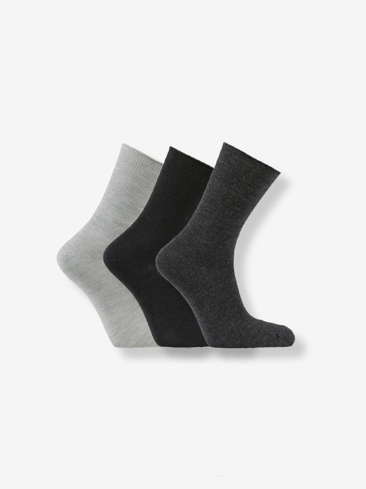 3-PACK WOOL SOFT HOLD SOCKS, BLACK, GREY, DARK GREY