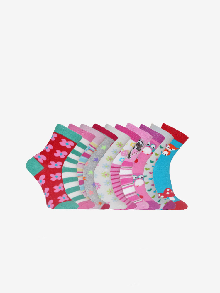 10-PACK YOUNG GIRLS FUN SOCKS, MIX