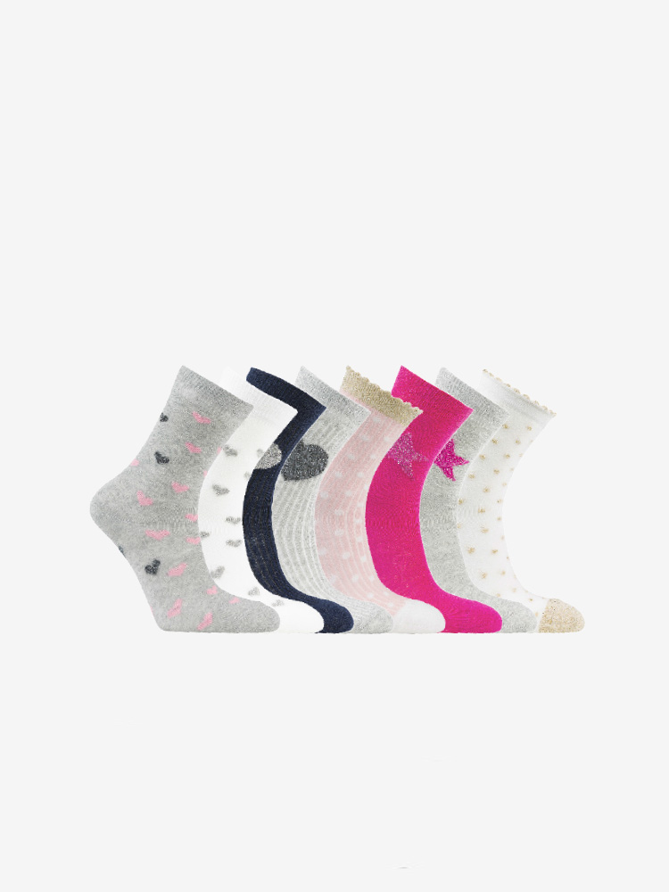8-PACK HEART & STAR SOCKS, MIX