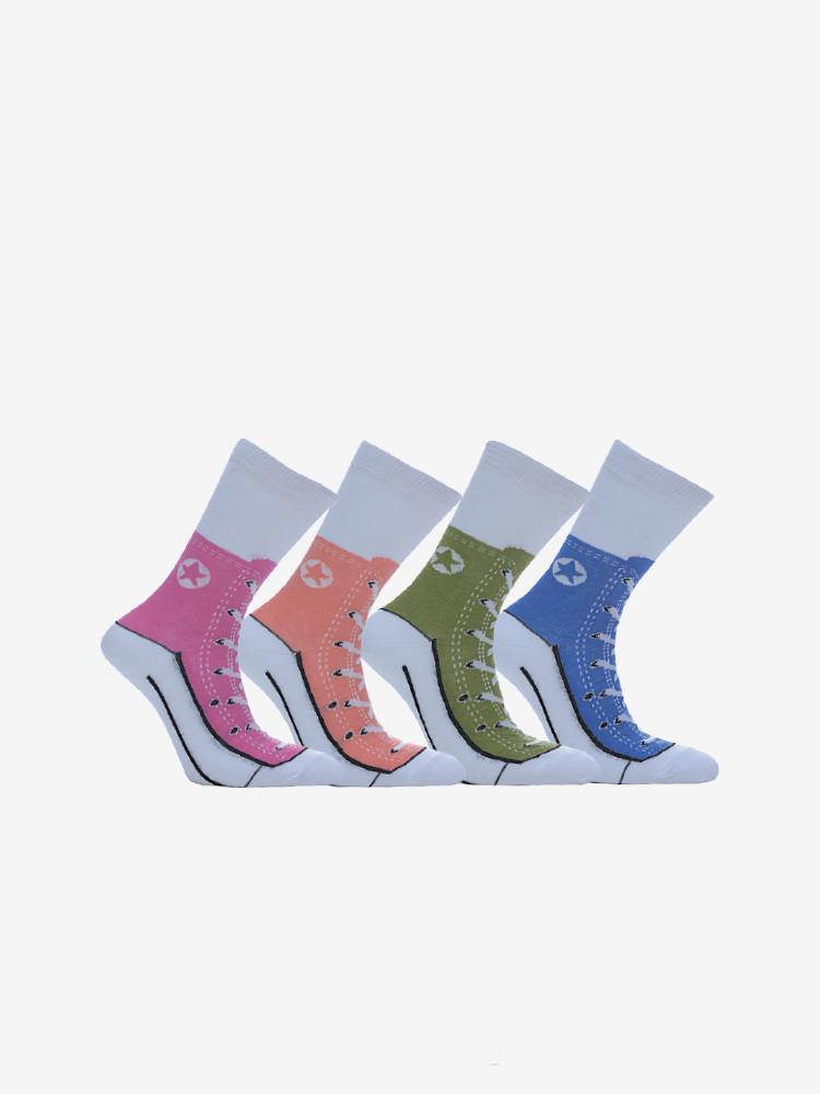 4-PACK SHOE PRINT SOCKS, MIX
