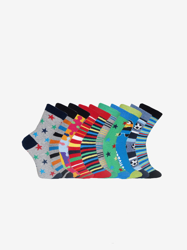 10-PACK YOUNG BOYS SOCKS, MIX