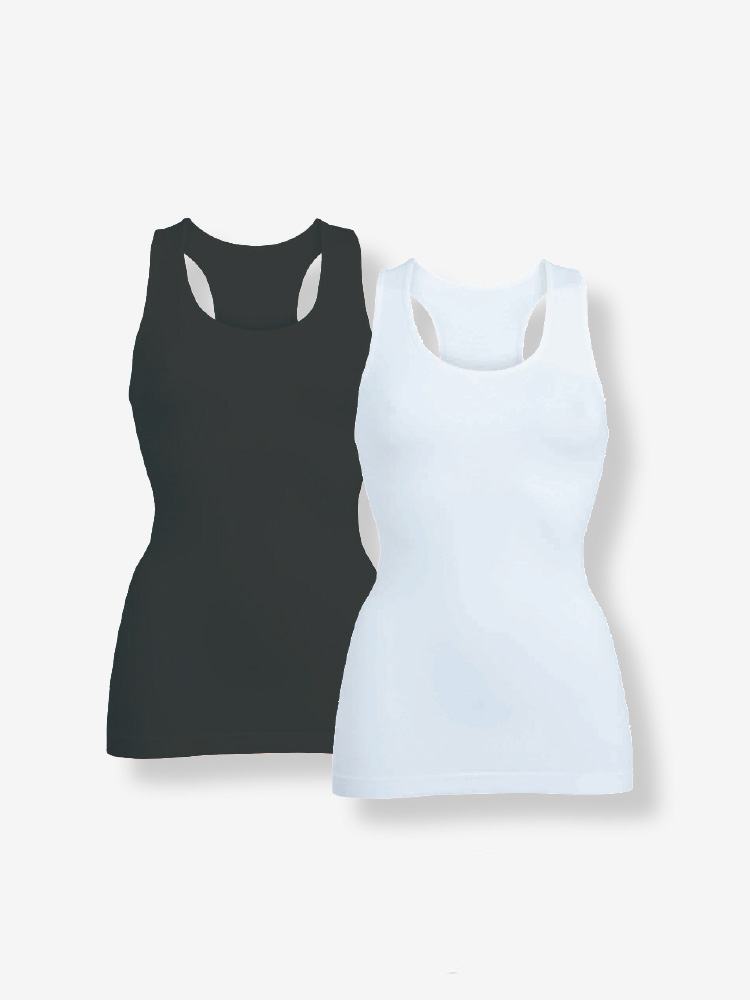 2-PACK SEAMLESS TANK TOP, BLACK & WHITE