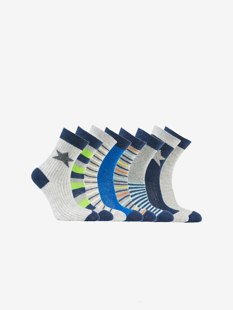 8-PACK STRIPE & STAR, BLUE & GREY MIX