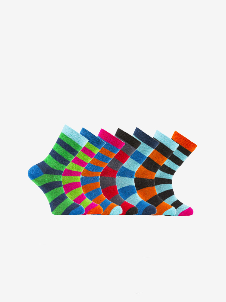 7-PACK STRIPE SOCKS, MIX